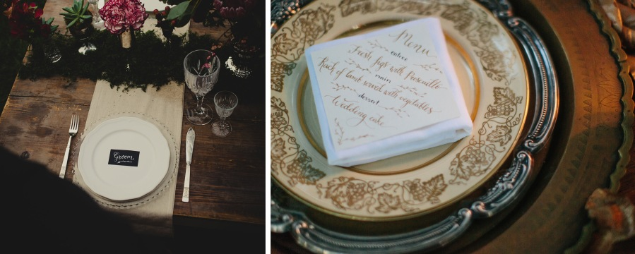 custom wedding, calligraphy, menu, name cards