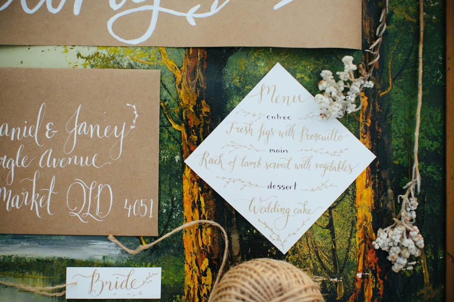 Custom Calligraphy, Signage, Menus, placecards, name cards, invites, forest wedding, calligraphy, modern calligraphy, envelope calligraphy, day-of calligraphy, brisbane weddings