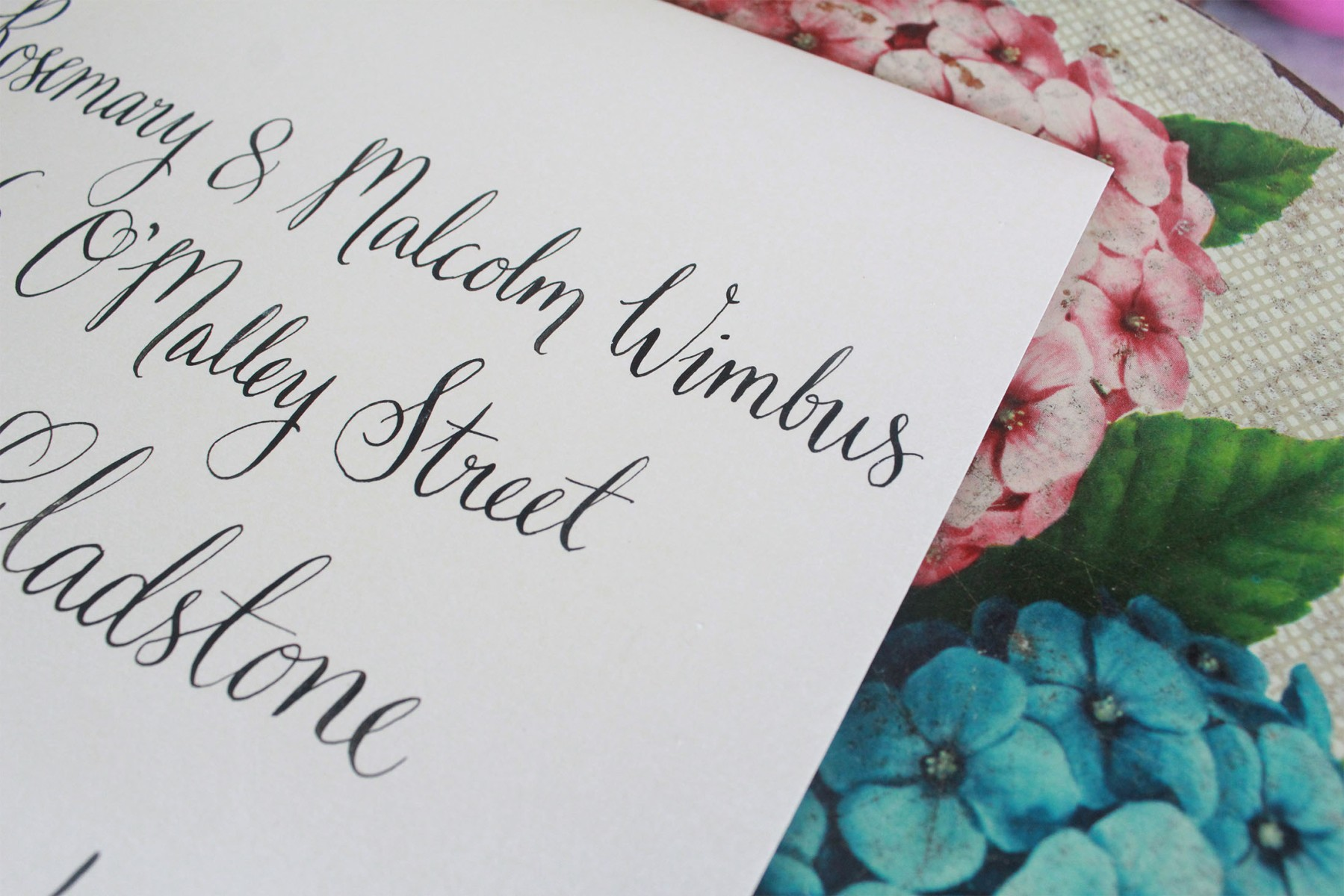 envelope calligraphy, wedding calligraphy, brisbane bride, black and white, floral